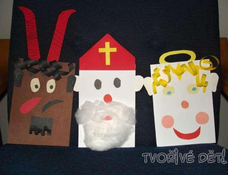 Mikuláš, čert a anděl - papírové tvoření