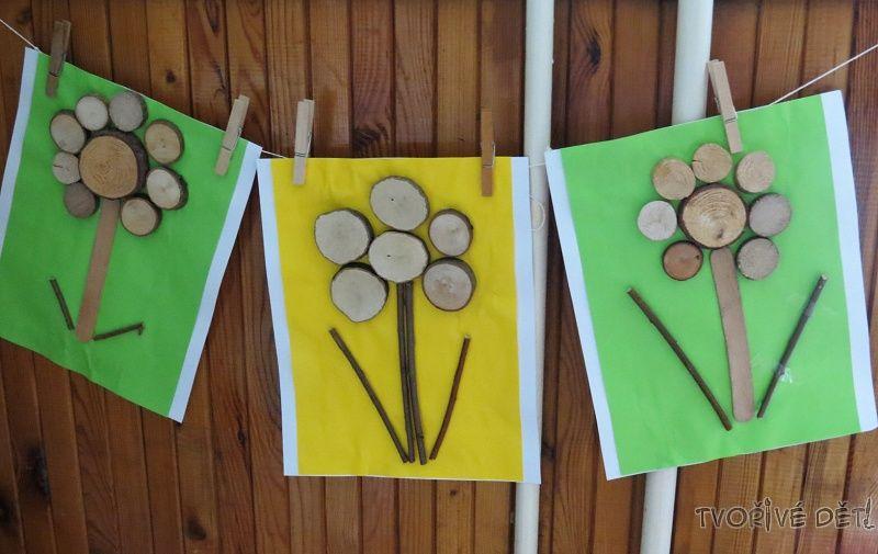Obrázky z větviček a koleček dřeva