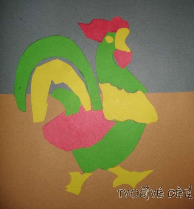 papírové tvoření - Kohoutek