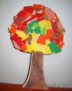 Jednoduché papírové tvoření podzimní stromek stojící