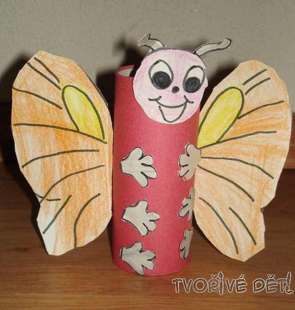 Tvoření z rolek od toaletního papíru - Motýlek