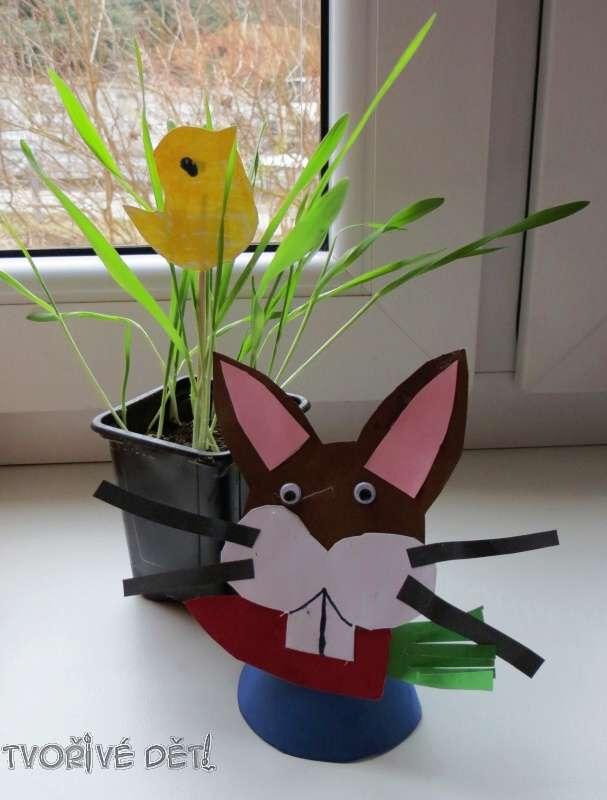 Velikonoční dekorace na okno - osení a zajíček