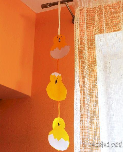 Velikonoční tvoření s dětmi - závěs kuřátka