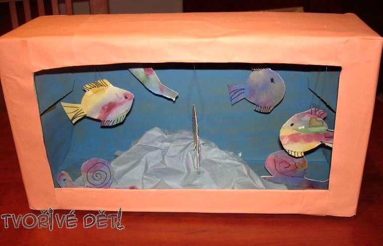 Akvárium z krabice - tvoření s dětmi