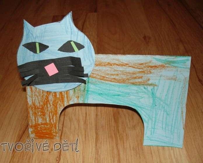 papírové tvoření - Vousatý kocourek
