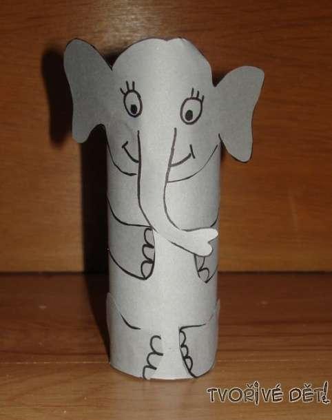 Tvoření z rolek od toaletního papíru - Slon